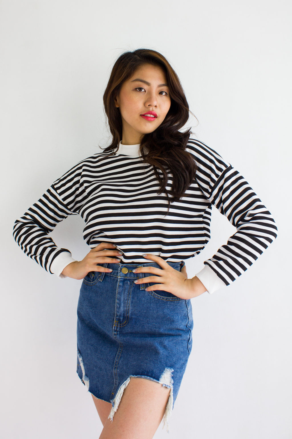 Jailbait Stripe Crop Sweater in White - TOPS - Peep Boutique