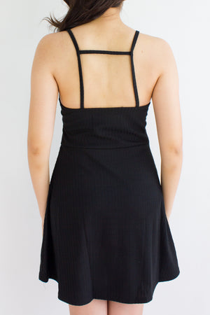 Strappy Go Lucky Skater Dress in Black - DRESSES - Peep Boutique