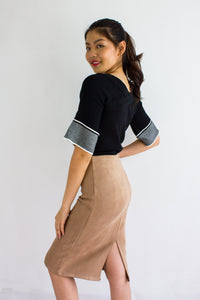 Classic Suede Fitted Midi Skirt in Nude - BOTTOMS - Peep Boutique