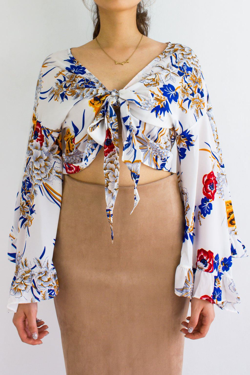 Oriental Floral Bell Sleeves Top in White Garden - TOPS - Peep Boutique