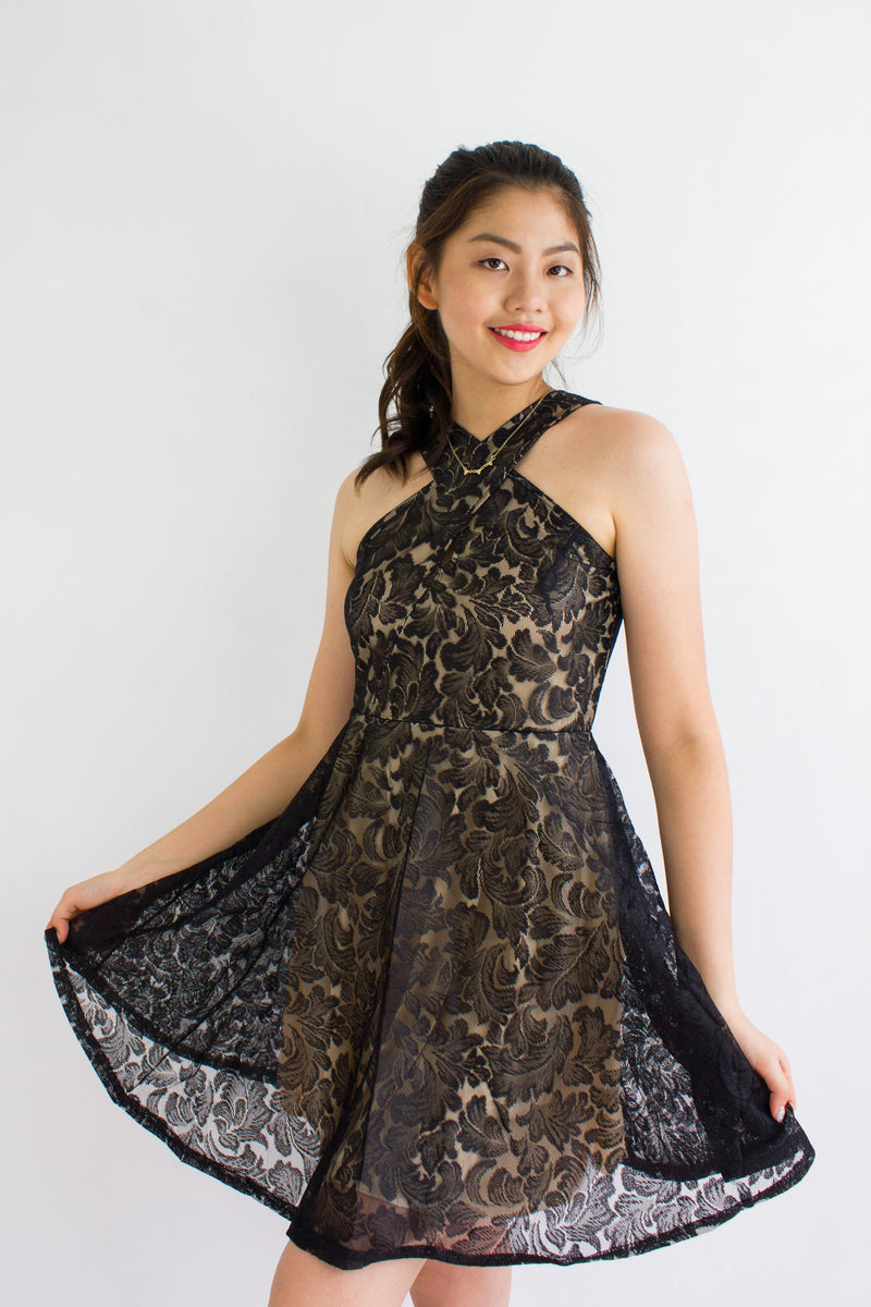 Lace Face It Halter Dress in Black - DRESSES - Peep Boutique