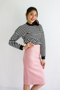 Classic Suede Fitted Midi Skirt in Pink - BOTTOMS - Peep Boutique