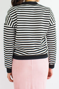 Jailbait Stripe Crop Sweater in Black - TOPS - Peep Boutique