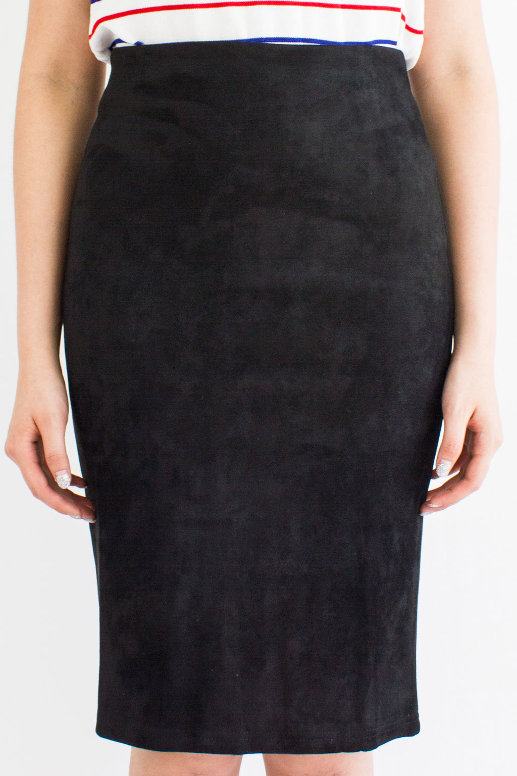 Classic Suede Fitted Midi Skirt in Black - BOTTOMS - Peep Boutique