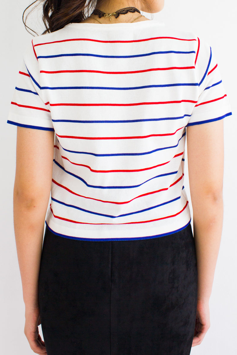 Oh Baby Baby Stripe Crop Tee in White - TOPS - Peep Boutique