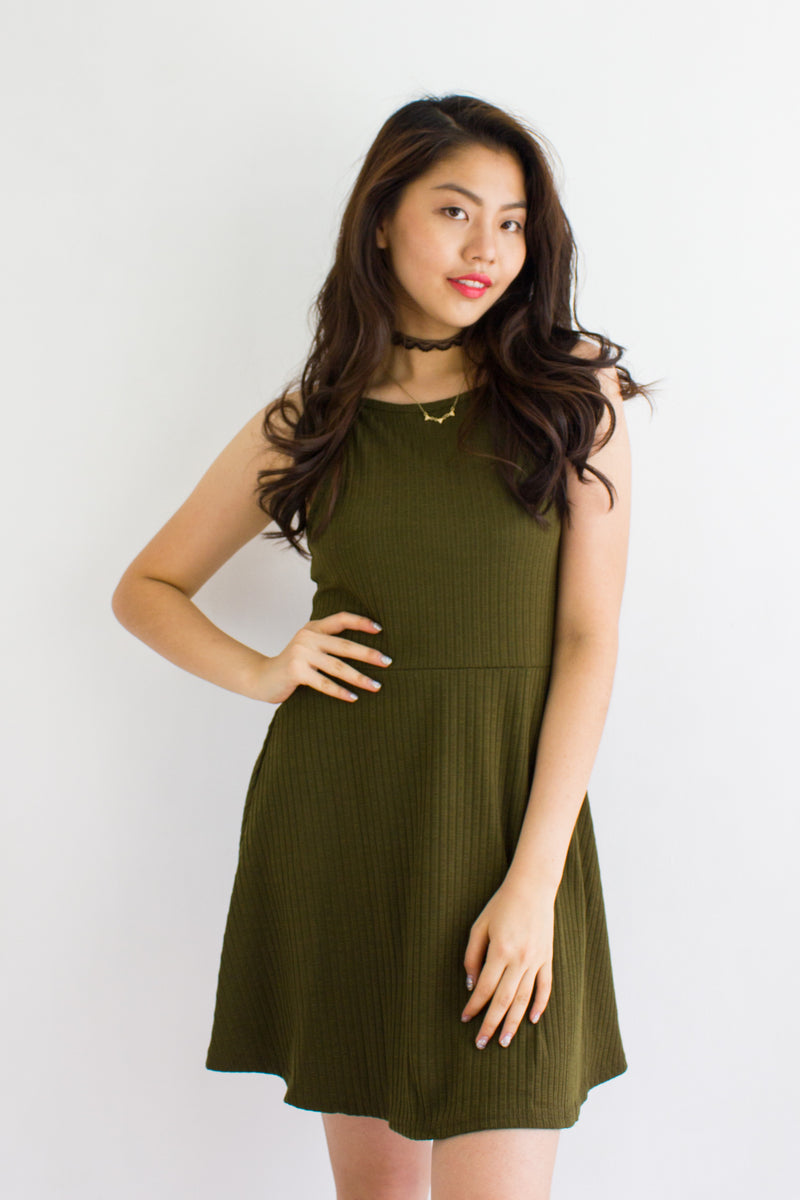 Strappy Go Lucky Skater Dress in Army Green - DRESSES - Peep Boutique