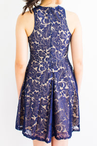 Lace Face It Halter Dress in Navy Blue - DRESSES - Peep Boutique