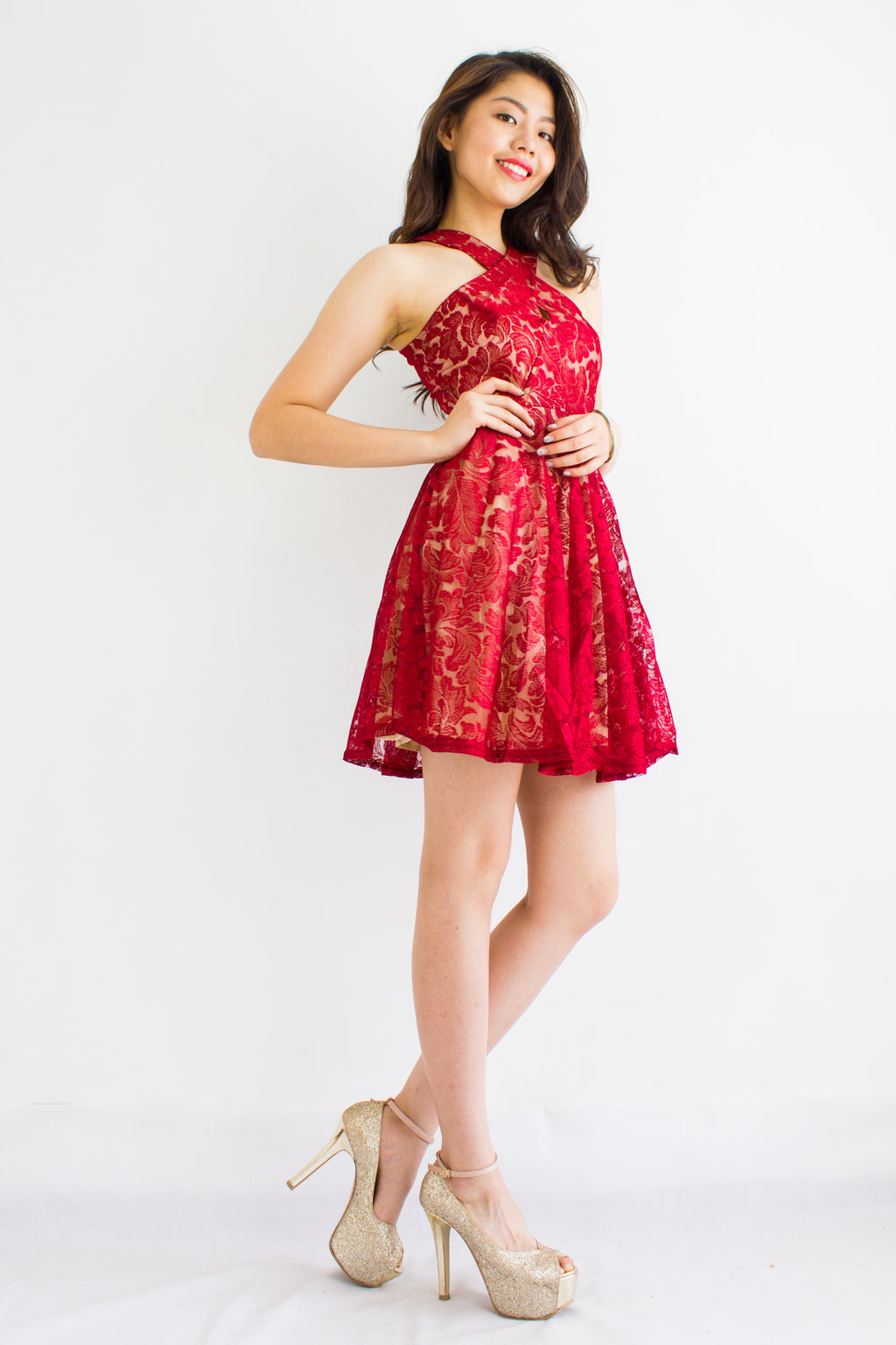 Lace Face It Halter Dress in Red - DRESSES - Peep Boutique