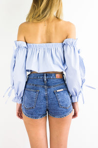High On Acid Wash Denim Shorts - BOTTOMS - Peep Boutique