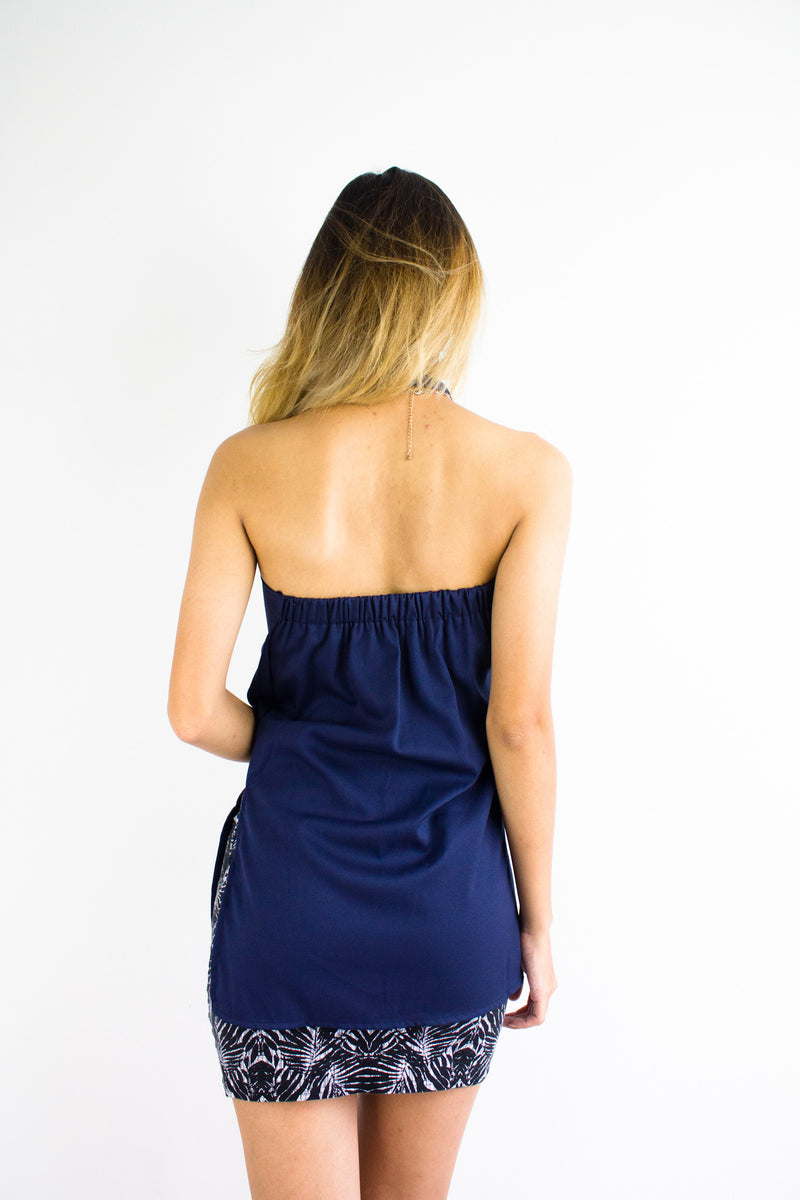 All Choked Up Tube Top in Navy Blue - TOPS - Peep Boutique