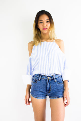 Button Down the Line Top in Light Blue