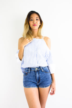 Button Down the Line Top in Light Blue - TOPS - Peep Boutique