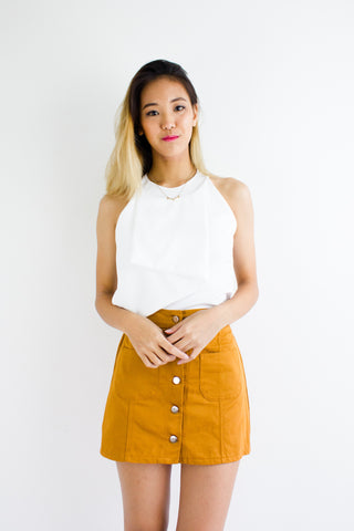 Anna Asymmetrical Halterneck Top in White