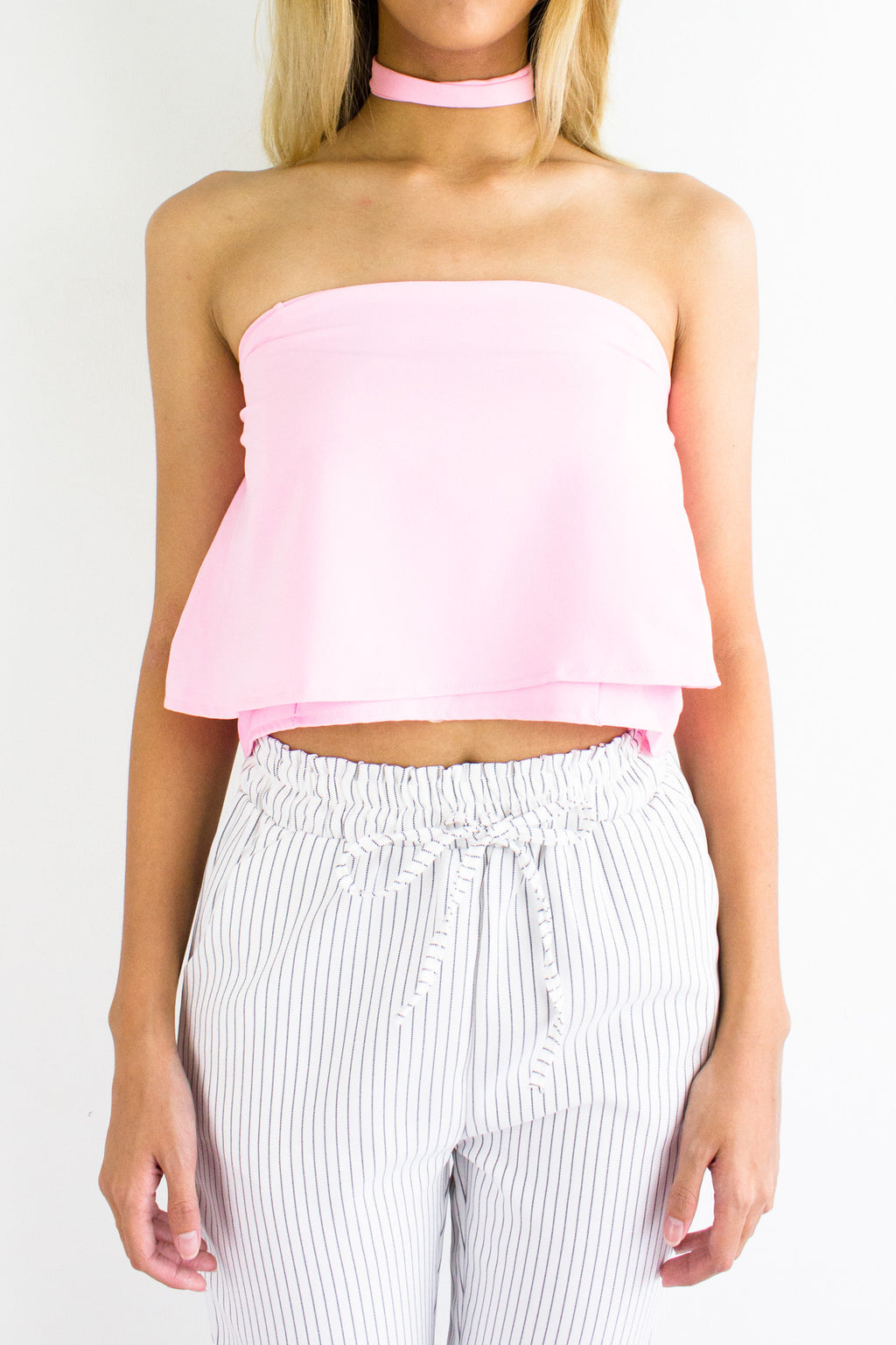 Cordelia Choker Tube Crop Top in Powder Pink - TOPS - Peep Boutique