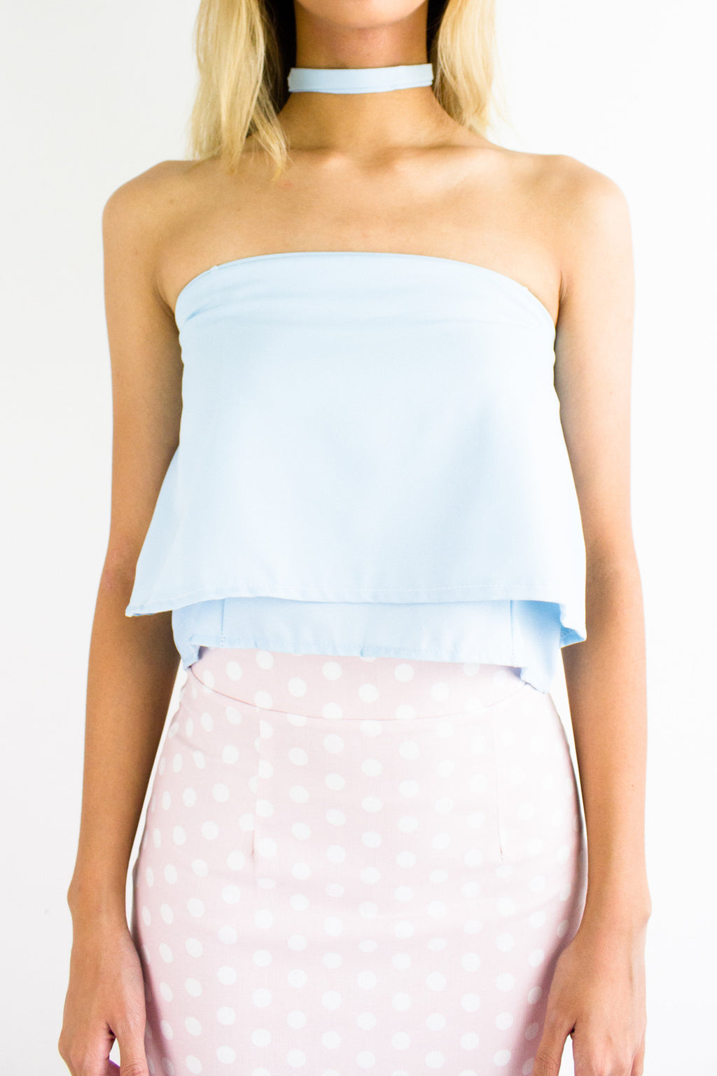 Cordelia Choker Tube Crop Top in Powder Blue - TOPS - Peep Boutique