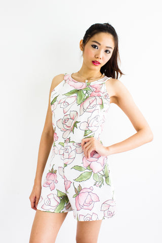 Roses Have Thorns Romper in White