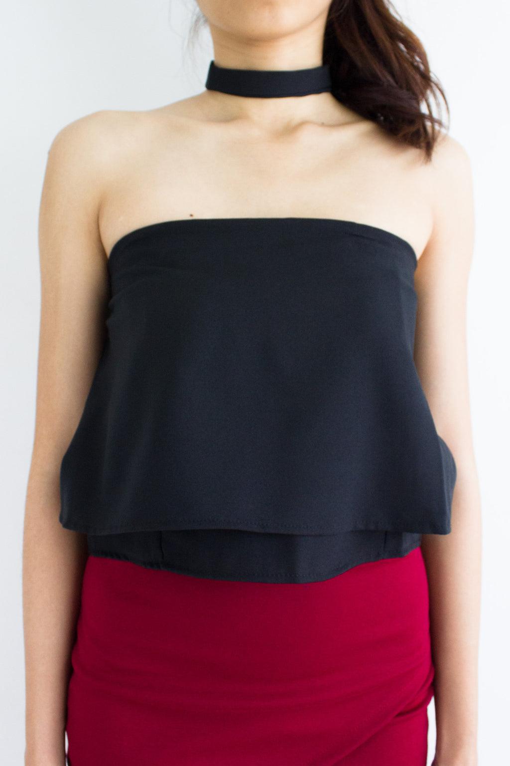 Cordelia Choker Tube Crop Top in Black - TOPS - Peep Boutique