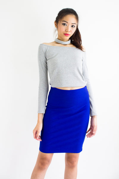 Rhea Ribbed Choker Crop Top in Light Grey