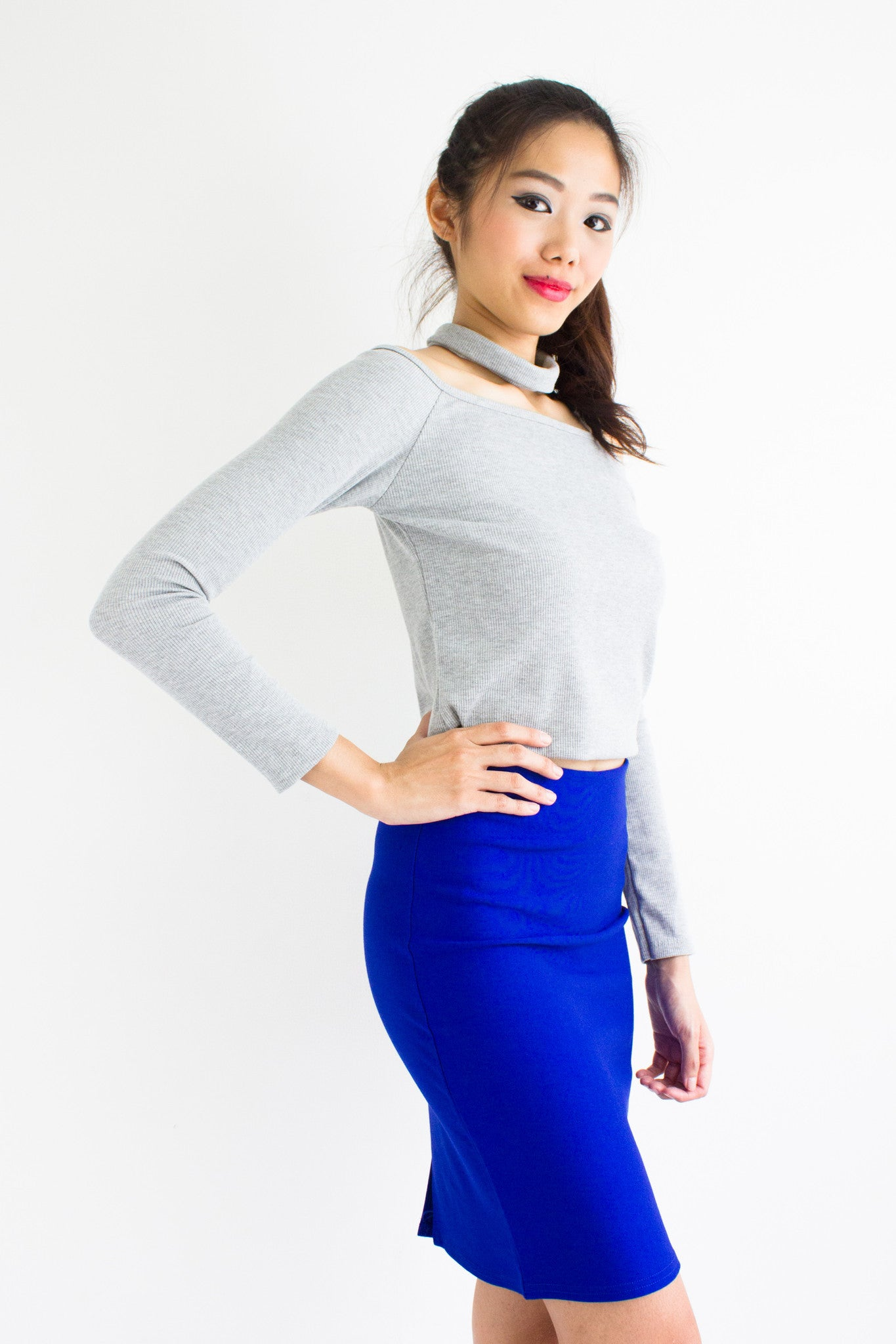 Classic Fitted Mini Skirt in Bright Blue