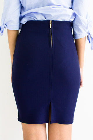 Classic Fitted Mini Skirt in Navy Blue