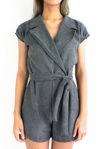 Sophie Suede Tuxedo Romper in Charcoal
