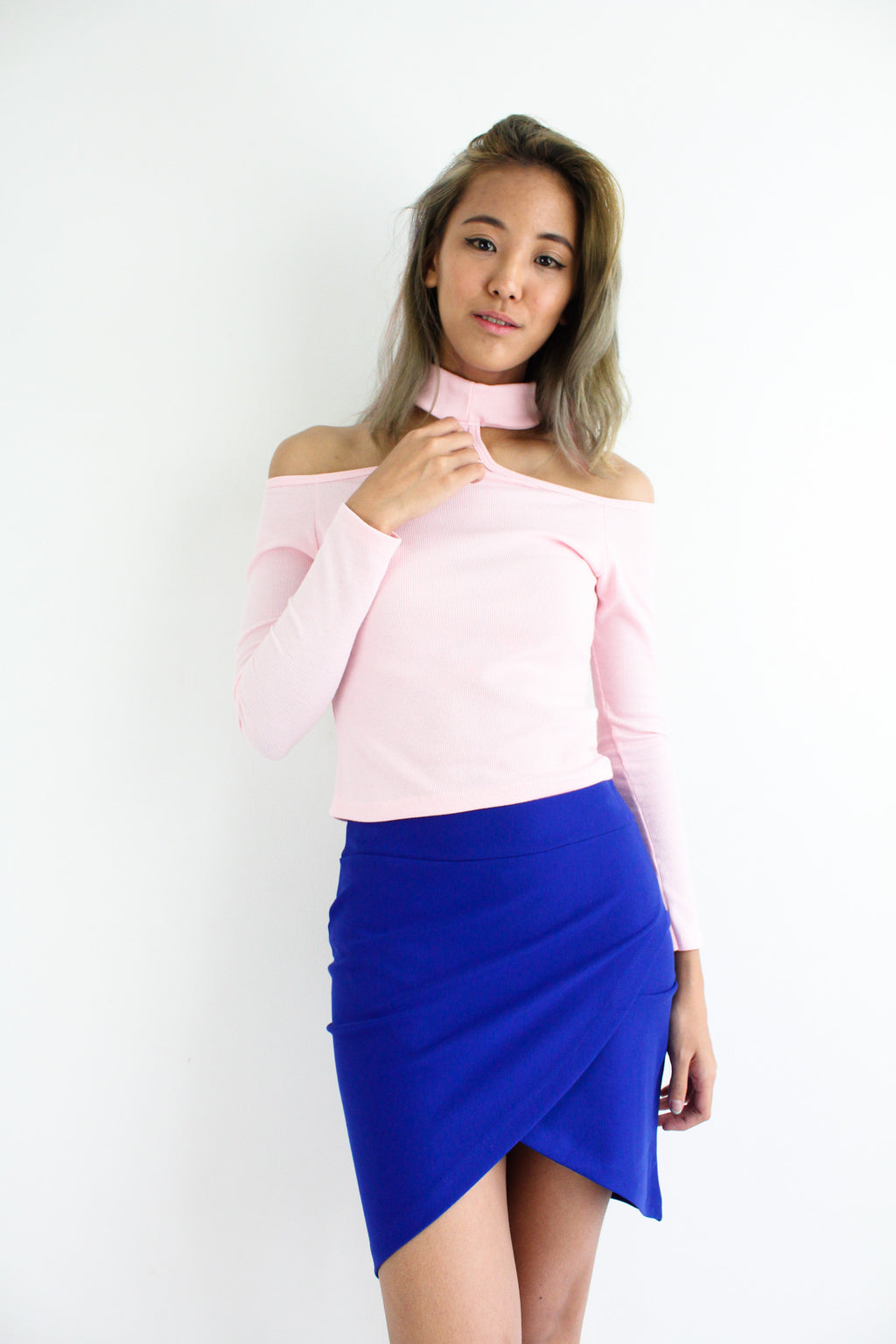 Tulip Foldover Fitted Skirt in Royal Blue - BOTTOMS - Peep Boutique