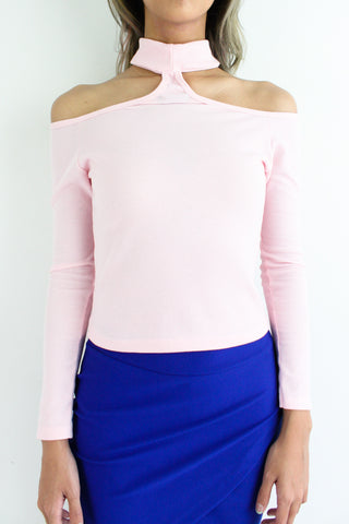 Rhea Ribbed Choker Crop Top in Baby Pink