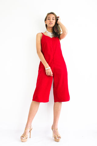 Cool It In Corduroy Jumpsuit in Bright Red