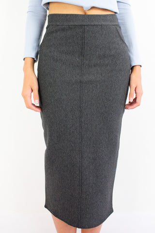 Pocketful Fitted Midi Skirt in Charcoal Grey