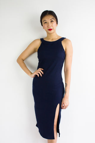 Slit Knit Midi Dress in Navy Blue