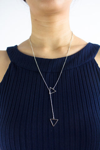 Triangulate Long Necklace in Silver
