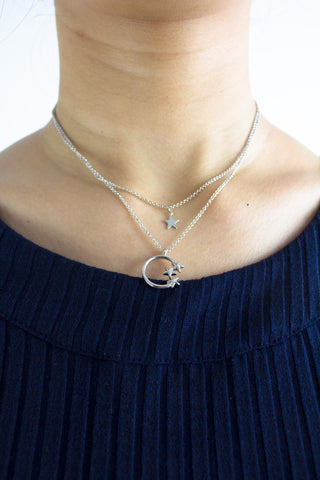 Moonshine Starshine Short Necklace in Silver