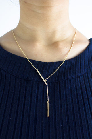 Double Bars Long Necklace in Gold