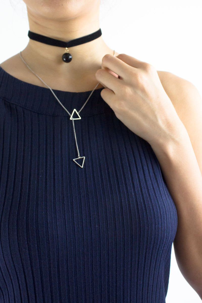 Triangulate Long Necklace in Silver - ACCESSORIES - Peep Boutique