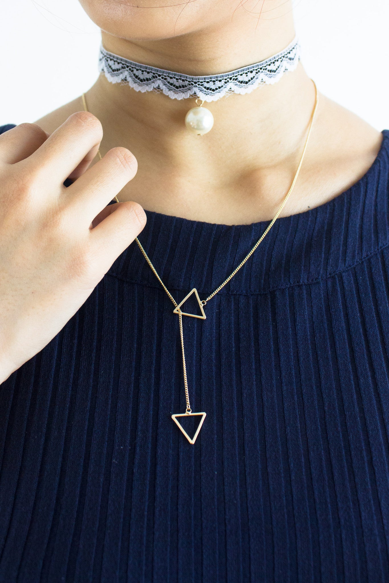 Triangulate Long Necklace in Gold