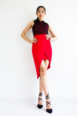 Xue Crochet Asymmetrical Dress in Bright Red
