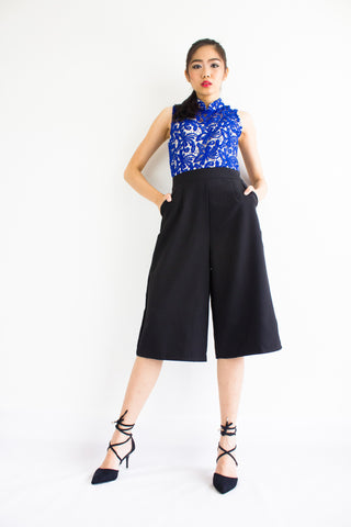 Xin Crochet Jumpsuit in Blue