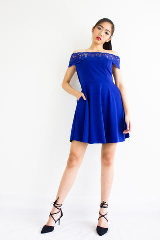 Crystal Crochet Off Shoulder Dress in Blue