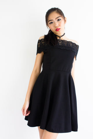 Crystal Crochet Off Shoulder Dress in Black