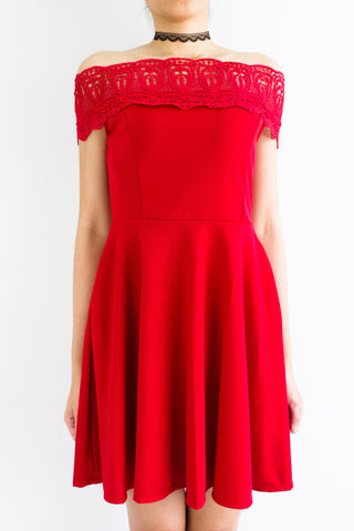 Crystal Crochet Off Shoulder Dress in Bright Red
