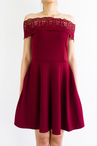 Crystal Crochet Off Shoulder Dress in Wine Red