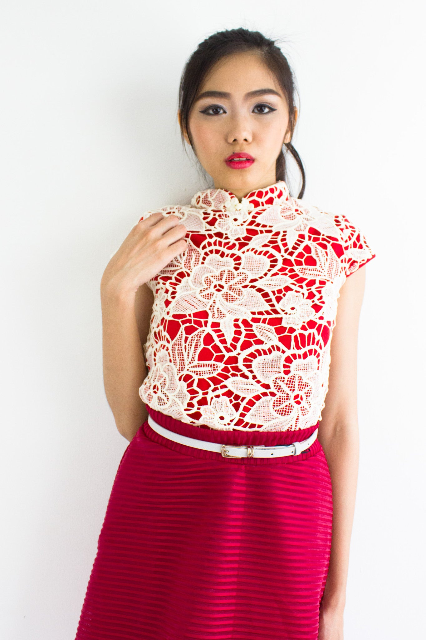 Xia Crochet Mandarin Collar Top in Bright Red