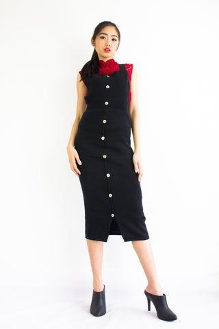 DeeDee Knitted Midi Pinafore in Black