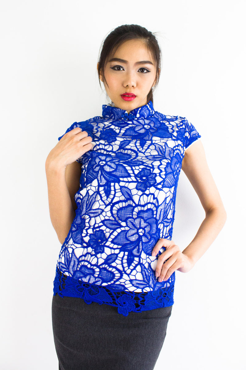 Xia Crochet Mandarin Collar Top in Blue - TOPS - Peep Boutique