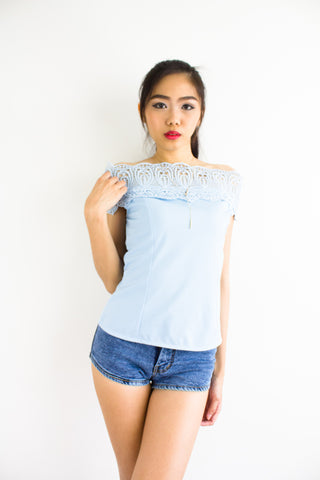 Cassandra Crochet Off Shoulder Top in Powder Blue