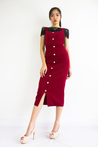 DeeDee Knitted Midi Pinafore in Wine Red