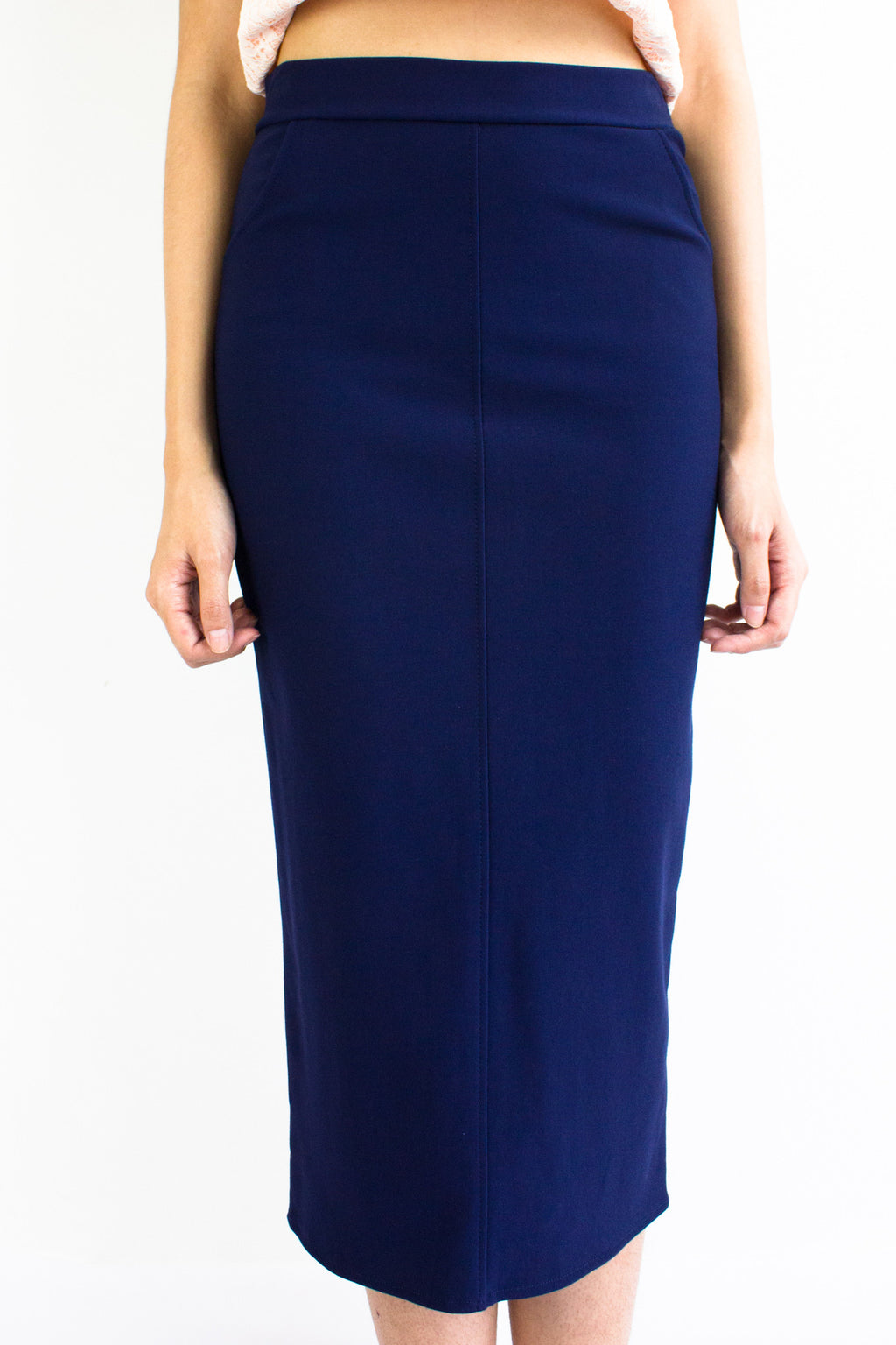 Pocketful Fitted Midi Skirt in Navy Blue - BOTTOMS - Peep Boutique