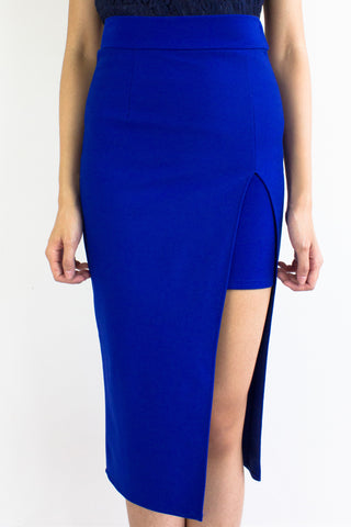 Front Split Midi Skirt in Bright Blue