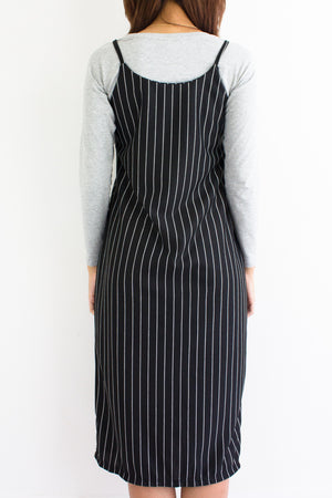 Sloane Stripe Midi Dress in Black - DRESSES - Peep Boutique