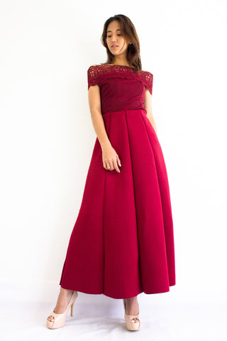 Naomi Neoprene Maxi Skirt in Wine Red